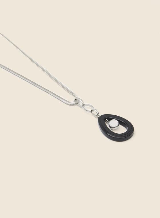Open Teardrop Pendant Necklace, Black