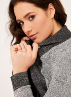 Open Front Heather Knit Cardigan, Grey, hi-res
