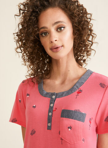Claudel Lingerie - Printed Nightgown , Pink,  nightgown, short sleeves, playful print, chest pocket, button down collar, spring summer 2020