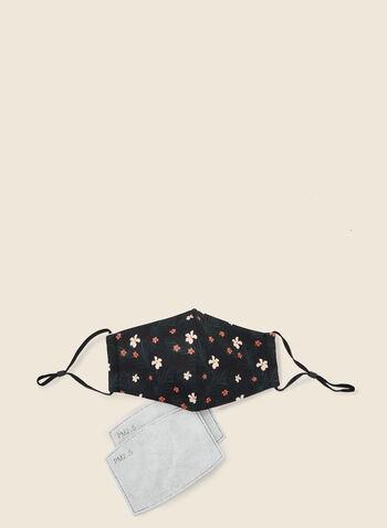 Masque en tissu motif floral avec filtres, Noir,  masque, floral, coton, filtre, ajustable, automne hiver 2020