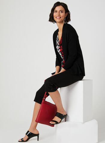 Edge To Edge Ribbed Cardigan, Black, hi-res