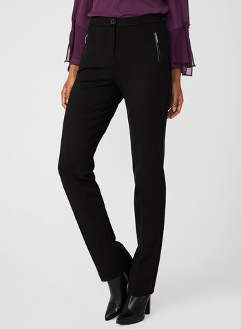 Faux Leather Trim Signature Pants, Black, hi-res