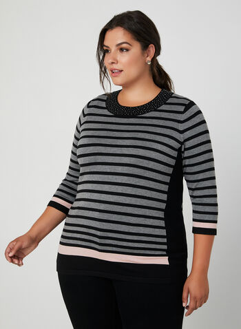 Stripe Print Sweater, Black,  stripe print, fall winter 2019, stretchy knit, 3/4 sleeves