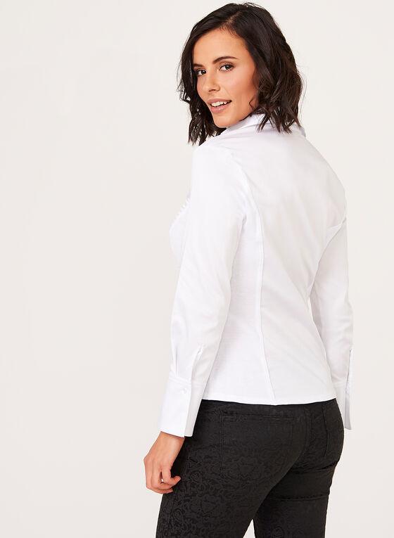 Chemisier en coton plissé , Blanc