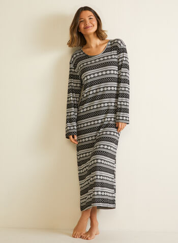 Robe de nuit à motif flocons, Noir,  automne hiver 2020, pyjama, robe de nuit, chemise de nuit
