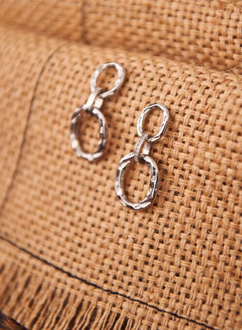 Tiered Dangle Earrings, Silver
