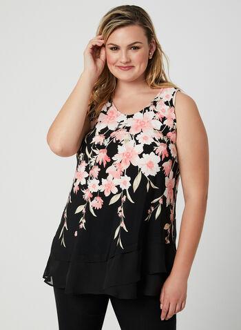 Floral Print Sleeveless Top, Orange,  spring 2019, summer 2019, chiffon, jersey, layered