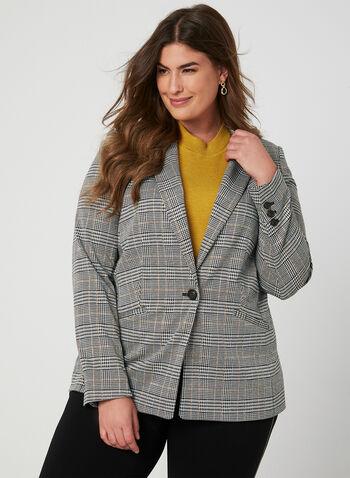 Veste motif Prince-de-Galles, Noir, hi-res,  veste, col cranté, prince-de-galles, automne hiver 2019