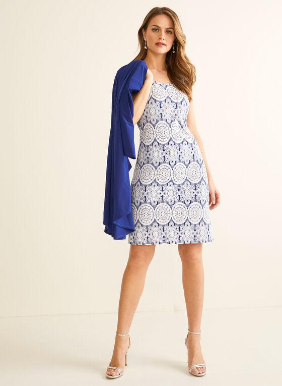 Ensemble robe texturée et cardigan, Bleu