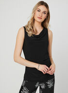 Sleeveless Drape Neck Top, Black, hi-res
