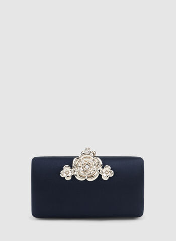Flower Detail Clutch, Blue,  fall winter 2019, satin, rectangular, flower closure