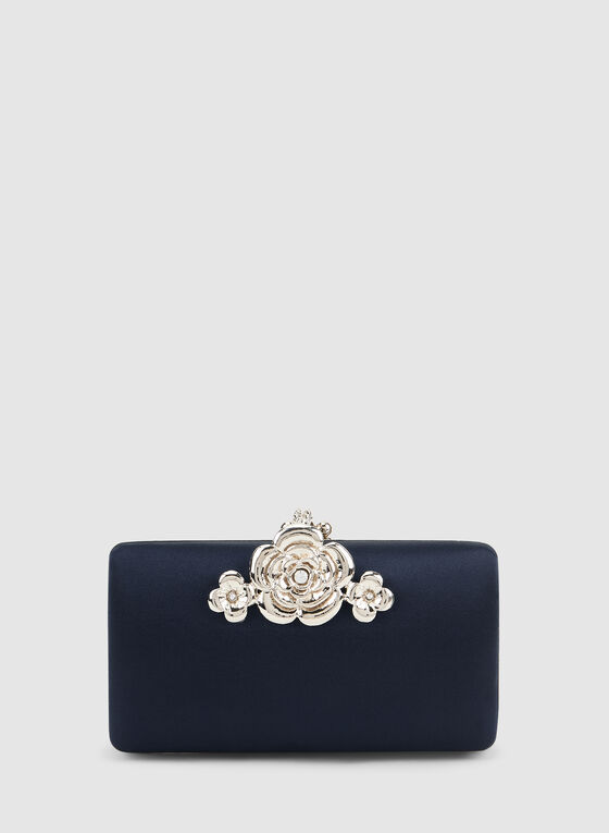 Flower Detail Clutch, Blue