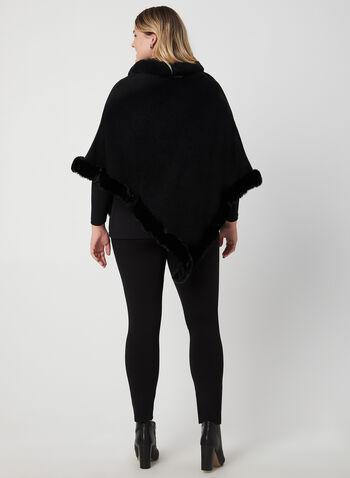 Poncho à bordures de fausse fourrure, Noir, hi-res,  asymétrique, tricot, automne hiver 2019