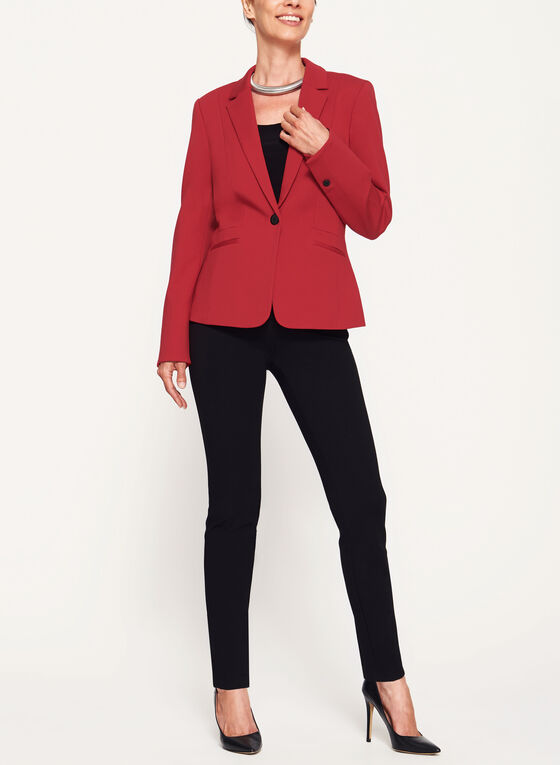 One-Button Pique Ponte Blazer, Red, hi-res