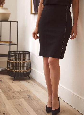 Zip Closure Straight Skirt, Black,  skirt, straight, zipper, slit, ponte di roma, fall winter 2020