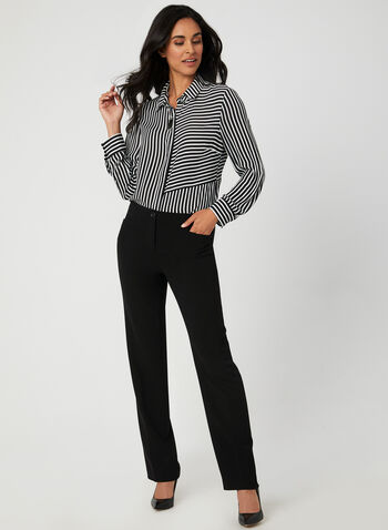 Stripe Print Blouse, Black,  long sleeves, pointed collar, high-low, button down, placket, fall 2019, winter 2019