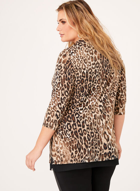 Leopard Print Jersey Top , Black, hi-res