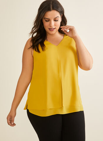 V-Neck Crepe Blouse, Yellow,  blouse, sleeveless, v neck, crepe, spring summer 2020