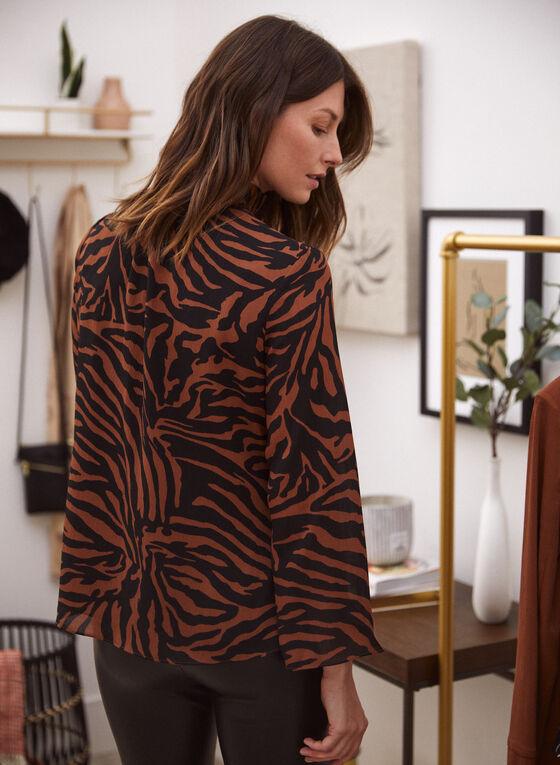 Zebra Print Mock Neck Blouse, Brown
