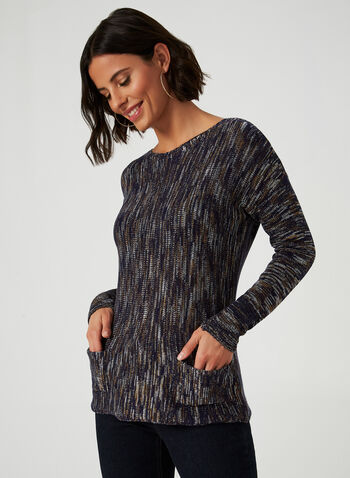 Long Sleeve Sweater, Blue, hi-res,  fall winter 2019, knit, long sleeves