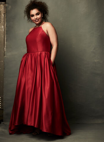 High-Low Satin Ball Gown, Red, hi-res