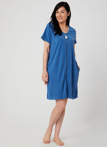René Rofé - Terry Nightshirt, Blue, hi-res,  terry cloth, spring 2019, summer 2019, shell, embroidered