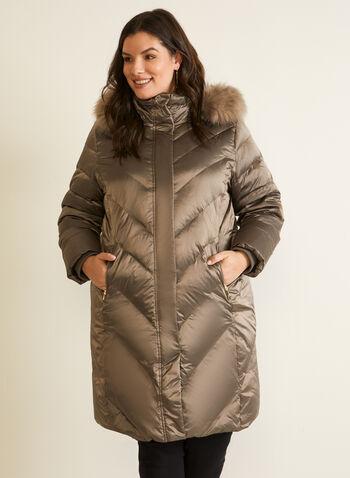 Manteau iridescent en mélange de duvet , Brun,  automne hiver 2020, manteau, iridescent, mélange duvet plumes, capuchon, amovible, fausse fourrure, motif chevron, tricot côtelé, fermetures à glissière, bouton pression, poches zippées, tissu hydrofuge
