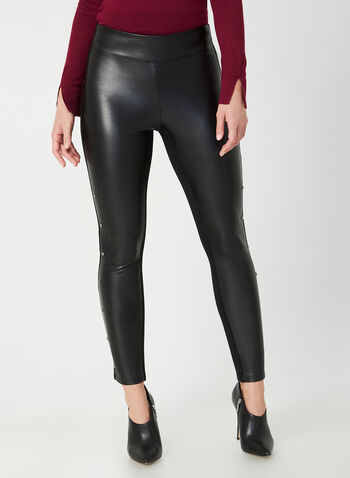 Rivet Detail Faux Leather Pants, Black,  faux leather slim-leg pants, pu leather leggings