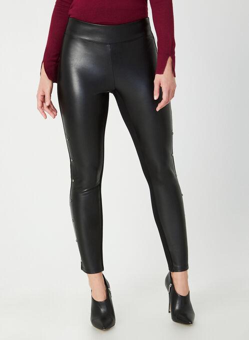 Legging en faux cuir et rivets, Noir, hi-res