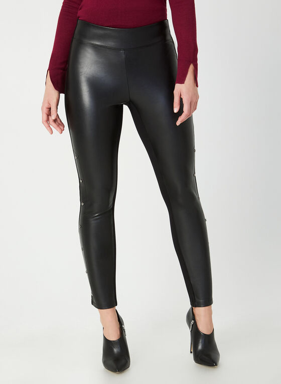 Legging en faux cuir et rivets, Noir