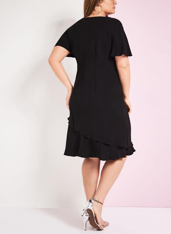 V-Neck Stretch Crepe Dress, Black, hi-res