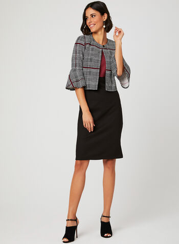 Plaid Print Jacket Dress Set, Black, hi-res