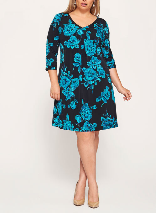 Rose Print Pleated Detail Dress, Blue, hi-res