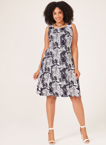 Tropical Print Fit & Flare Dress, Blue, hi-res
