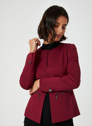 Ponte de Roma Blazer, Red, hi-res,  blazer, long sleeves, Ponte de Roma, cropped, studs, fall 2019, winter 2019