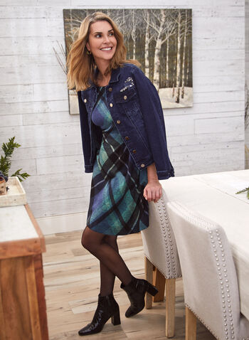 Robe à imprimé tartan , Bleu,  automne hiver 2020, robe, motif tartan, manches longues,