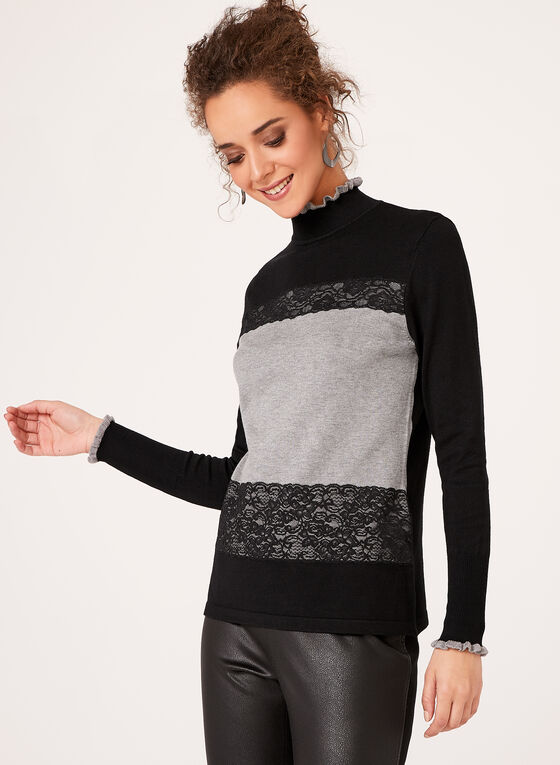 Colour Block Lace Trim Sweater, Black, hi-res