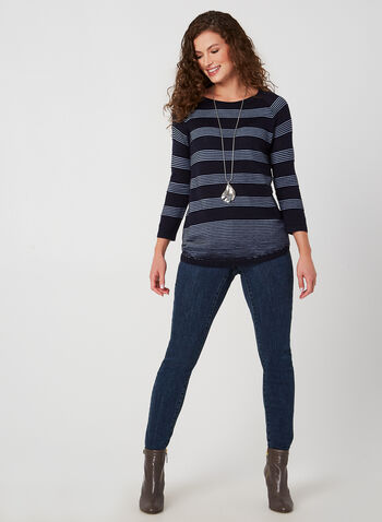 Ottoman Stripe Sweater, Blue,  sweater, knit, stripes, 3/4 sleeves, fall 2019, winter 2019