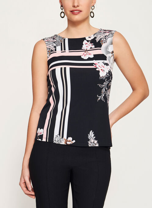Sleeveless Floral Print Jersey Top, Black, hi-res