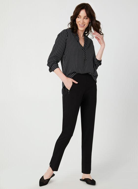 Stripe Print Blouse, Black, hi-res