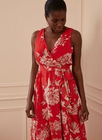 Floral Print Maxi Dress, Red,  spring summer 2021, dresses, maxi, floral print, sleeveless, v neck, wrap style, belt, knot detail
