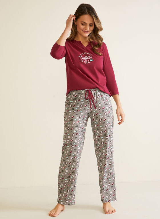 Ensemble pyjama à motif tasses, Rouge