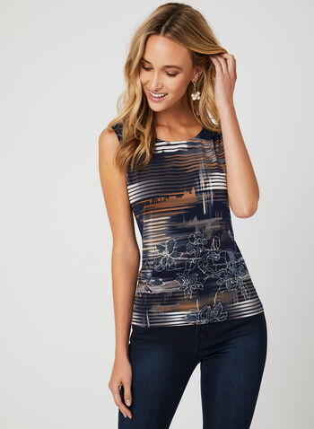 Abstract Print Sleeveless Top, Blue, hi-res