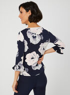 Floral Print Bell Sleeve Top, Blue, hi-res