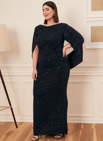 Drape Style Glitter Knit Gown, Black,  dress, evening, occasion, gown, glitter, drape, cowl, spring summer 2021