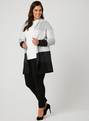 Edge-To-Edge Knit Cardigan, Black, hi-res