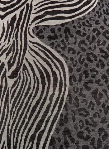 Foulard motif zèbre et léopard à franges, Noir, hi-res
