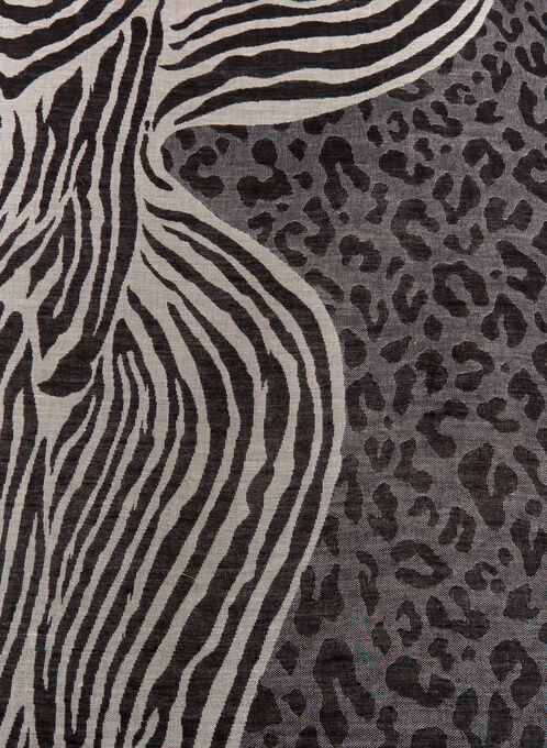 Animal Print Square Scarf, Black, hi-res