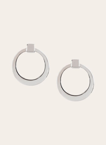 Doorknocker Hoop Earrings, Silver, hi-res