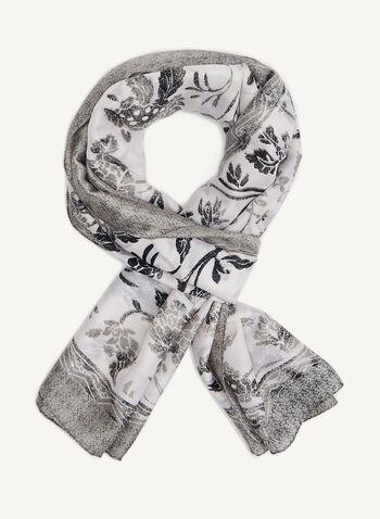 Monochromatic Floral Print Scarf, Black, hi-res